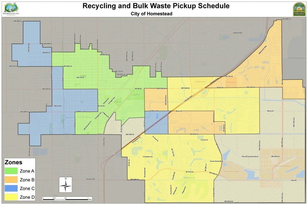Figure 2. Proposed zones A, B, C and D for both recyclables and bulky waste collection[1]