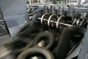 """Tires being used as """"Tire Derived Fuel"""" at a cement processing plant."""